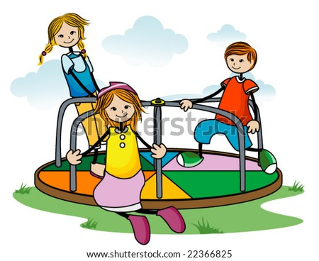 Kids on Roundabout - Vector - stock vector