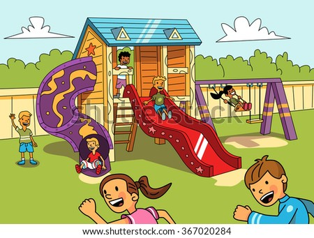Kids on the playground. Vector illustration. - stock vector