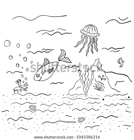 Kids Painting Coloring Page Undersea World Stock Vector HD (Royalty ...