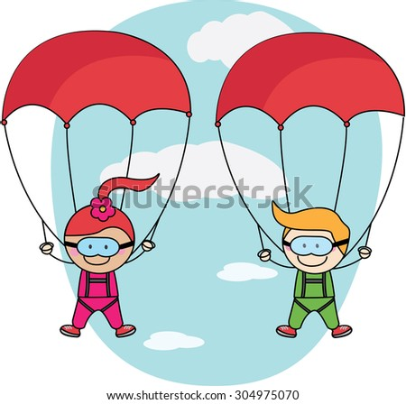 Kids parachute boy and girl - stock vector