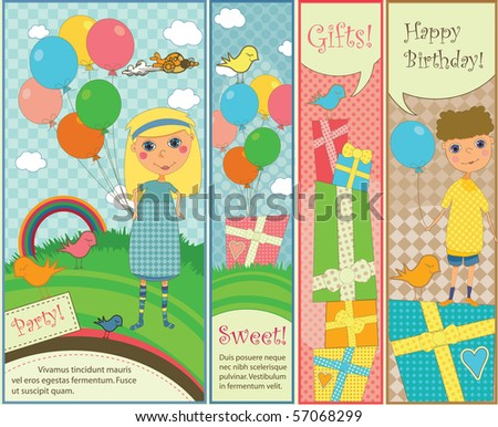 Kids Party and Birthday Banners - stock vector