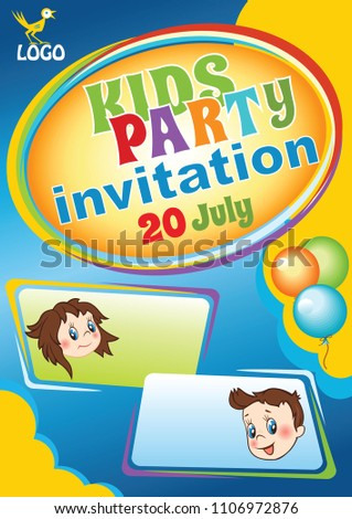 kids party invitation template baby birthday flyer kids event template vector colorful cartoon