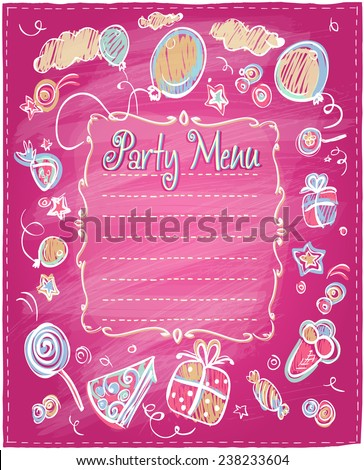 Kids party menu frame with place for dishes name. - stock vector