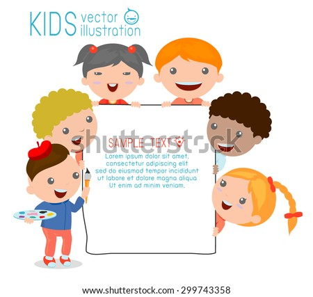 kids peeping behind placard, happy children, Cute little kids on white background,Vector Illustration - stock vector