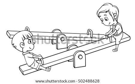 Kids On Seesaw Clipart