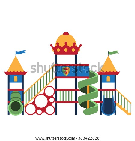 Kids playground and related items. Play equipment on white background. Vector illustration. Grouped for easy editing. - stock vector