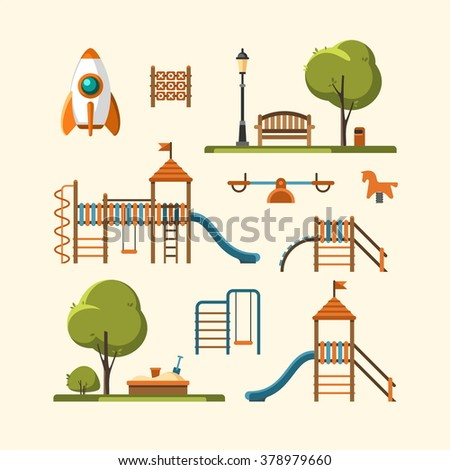 Kids playground, city park set. Vector illustration. - stock vector