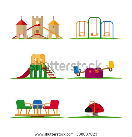 Kids playground elements vector. Carousel and children slide, swing and castle