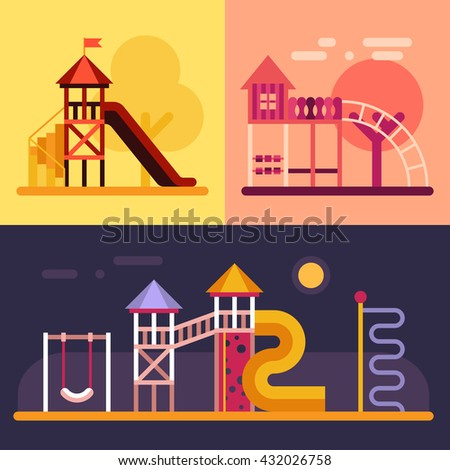 Kids playground with swings, slide, tower. Three colored flat vector illustrations. - stock vector
