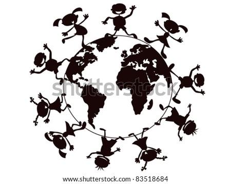kids playing around the world - stock vector