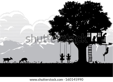 Kids playing at playgrounds, vector - stock vector