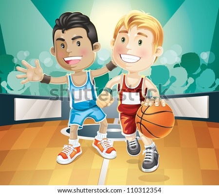 Kids playing basketball on indoor court. vector illustration cartoon character. - stock vector