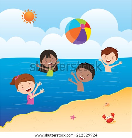 Kids playing beach ball. Happy kids playing beach ball in the sea under the sun. - stock vector