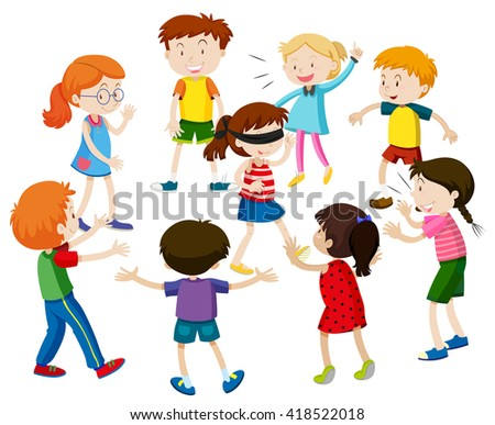 Kids playing blind folded illustration - stock vector