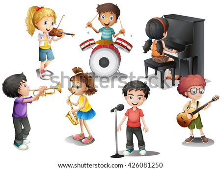 Kids playing different instruments illustration - stock vector