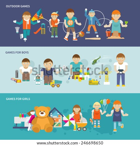 Kids playing flat banner set with girls and boys outdoor games isolated vector illustration - stock vector