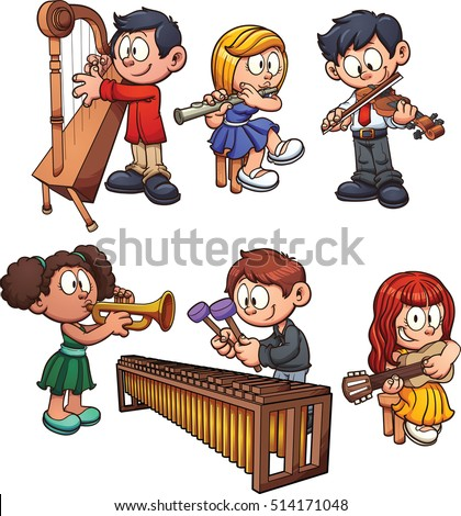 Kids playing musical instruments. Vector clip art illustration with simple gradients. Each on a separate layer.