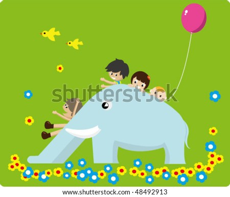 kids playing on a blue elephant sliding board - stock vector