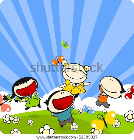 Kids playing on a grass in a sunny summer day - stock vector