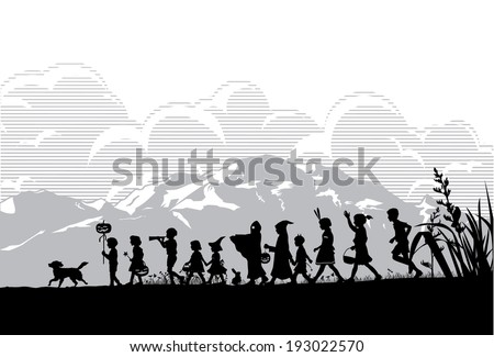 Kids playing on Halloween night - stock vector
