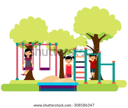 Kids playing on the playground. Sandbox, horizontal bar and swing. Vector illustration