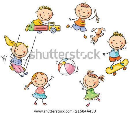 Kids playing outdoors - stock vector