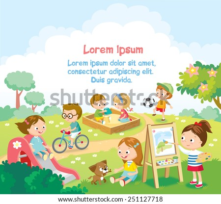 kids  playing outside - stock vector