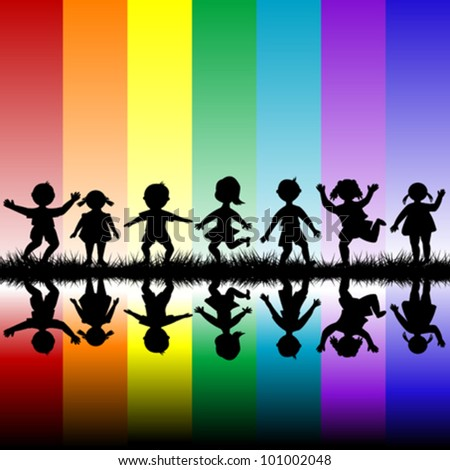 Kids playing over a rainbow background - stock vector