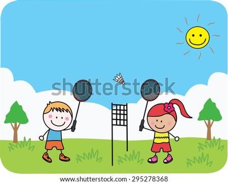 Kids playing tennis - stock vector