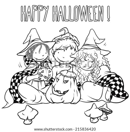Kids Playing With Jack-O-Lantern - Halloween Illustration For Children, Coloring Book Page Design, Vector Outline Cartoon, Traditional Autumn Theme. - stock vector