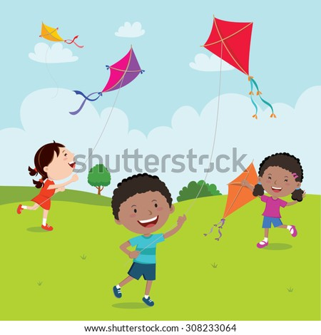 Kids playing with kites. Vector illustration of children flying kites on the meadow. - stock vector