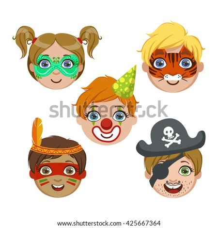 Kids Portraits With Animal Make Up Bright Color Cartoon Childish Style Flat Vector Drawings Isolated On White Background - stock vector