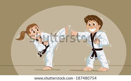 Kids practicing martial arts  - stock vector