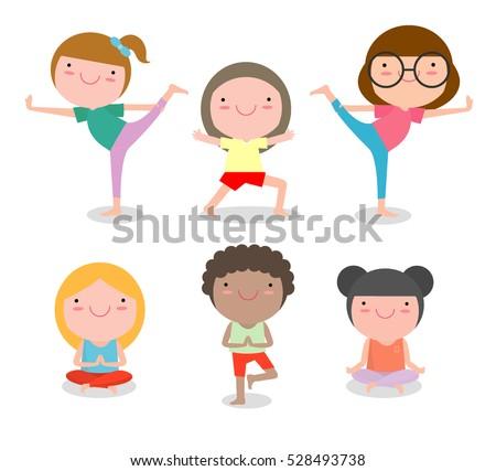 kids practicing yoga happy cartoon children practicing yoga child yoga exercises healthy lifestyle - Cartoon Pics Of Kids