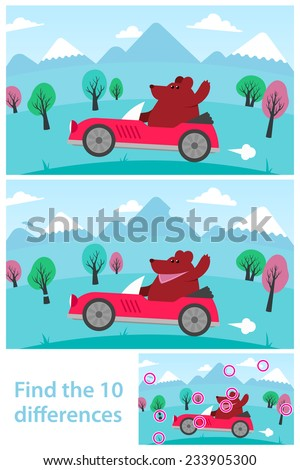 Kids puzzle - spot the 10 differences or variations between two vector drawings of a cartoon bear driving a red sports car in the mountains, with the solution in a third variant, eps8 - stock vector
