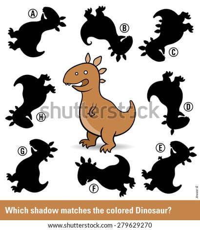 Kids puzzle with a brown cartoon dinosaur and eight different shadow silhouettes only one of which is a match in shape for entertainment and stimulation of young children, vector illustration - stock vector