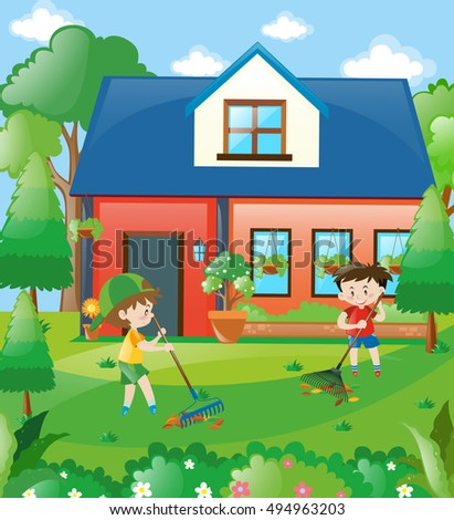 Kids raking leaves at home illustration