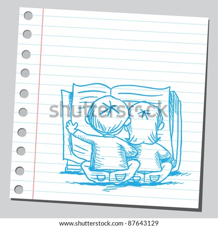 Kids reading a book - stock vector