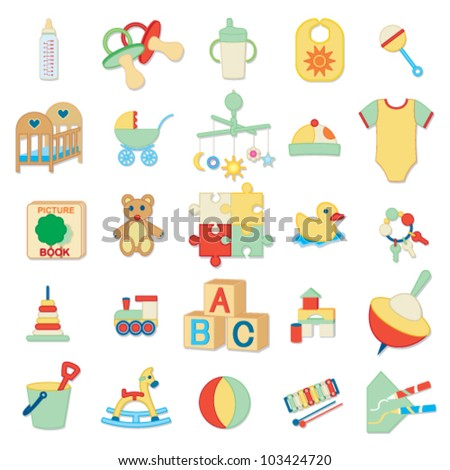 Kids related icons 2 - stock vector