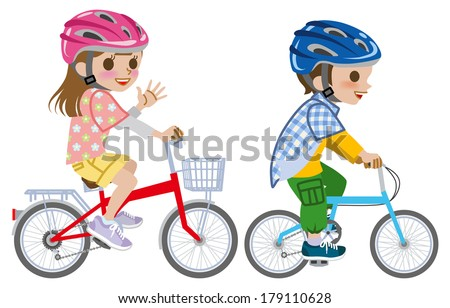 Kids riding bicycle,wearing Helmet, Isolated - stock vector