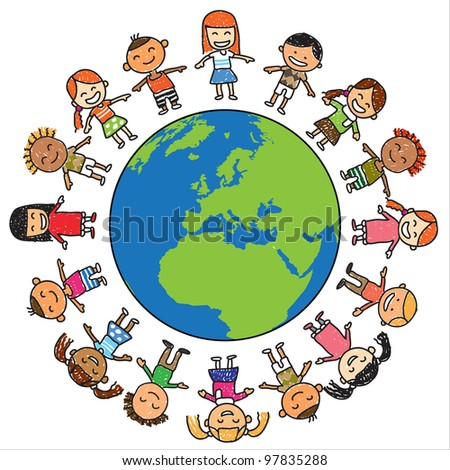 Kids save the earth vector - stock vector