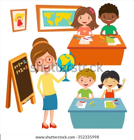 Kids school geography lessons illustration. Geographic teacher and kids in classroom. Children sitting on desk. Kids school vector. Boys, girls vector cartoon. Pre-school illustration. School kids - stock vector