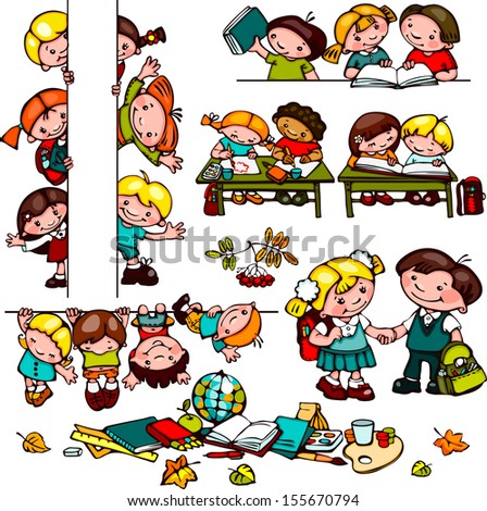 kids  school set.  Place for text. holding a blank sign. You can add as - stock vector
