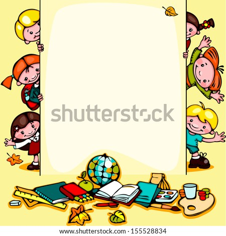 kids  school yellow background.  Place for text - stock vector