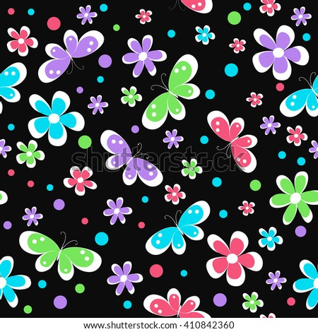 kids seamless pattern with bright flowers and butterfly on black background , vector illustration - stock vector