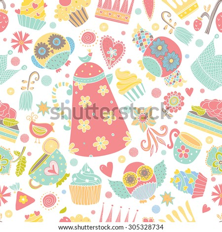 Kids seamless pattern with owls, cupcakes and crown.