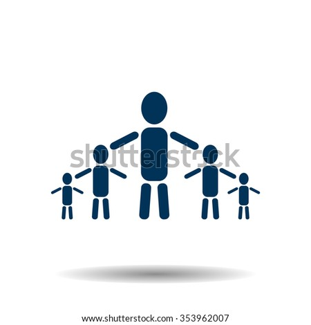 kids silhouette family icon, vector illustration. Flat design style