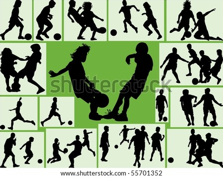 Kids silhouette playing football with green background - stock vector