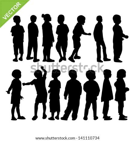Kids silhouette vector - stock vector