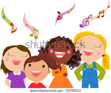 Kids Singing - Vector - stock vector